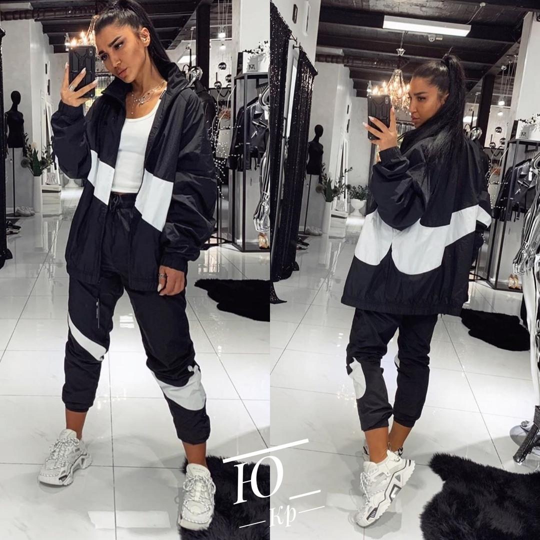 Костюм спортивный женский из плащевки черный со вставками, Спортивный стильный костюм женский из плащевки, с манжетами на резинке