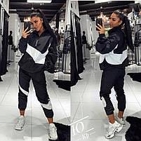 Костюм спортивный женский из плащевки черный со вставками, Спортивный стильный костюм женский из плащевки, с манжетами на резинке, фото 2