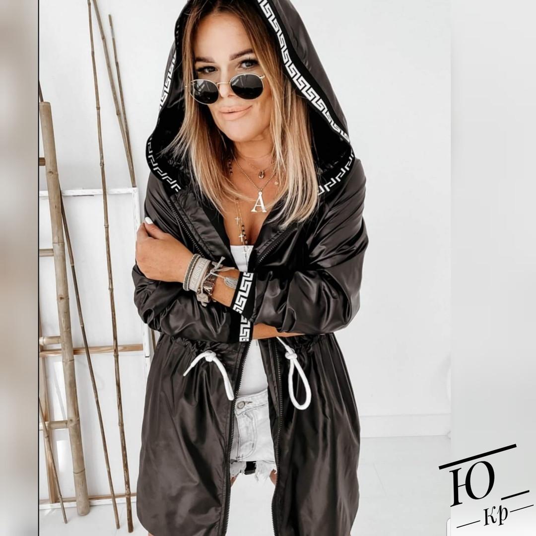 Куртка женская средней длинны плащевка на флисе с капюшоном, Женская куртка из плащевки стеганная