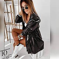 Куртка женская средней длинны плащевка на флисе с капюшоном, Женская куртка из плащевки стеганная, фото 2