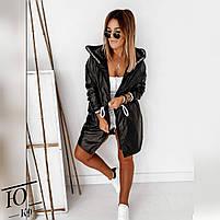 Куртка женская средней длинны плащевка на флисе с капюшоном, Женская куртка из плащевки стеганная, фото 3