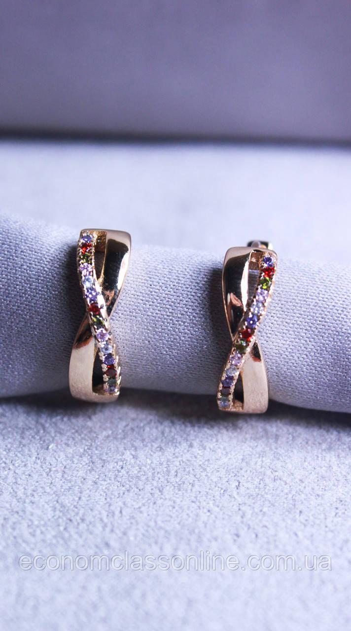Серьги-бантики Xuping позолота с белыми камнями ( color 68 )