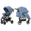 Детская прогулочная коляска синяя Carrello Echo золотая рама чехол на ножки подстаканник дождевик, фото 3