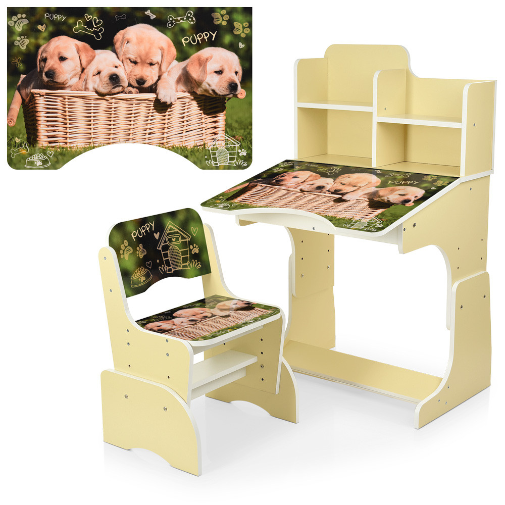 Парта B 2071-89-2(EN) со стульчиком, ваниль, щенки