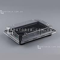 Контейнер для суши и роллов с крышкой УК-704-02, PET, черный, 356 шт/уп