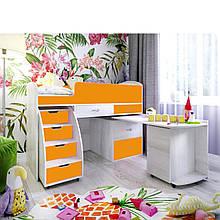 """Детская кровать-чердак с рабочей зоной, со шкафчиками для белья """" Малыш 6 """" Кровать чердак с выдвижным столом"""