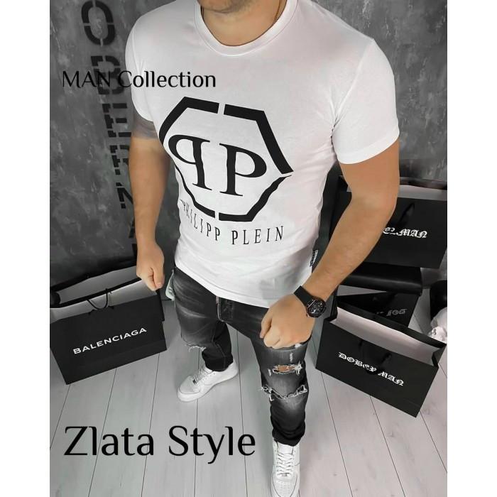 Чоловіча футболка Philipp Plein біла, розмір М,L