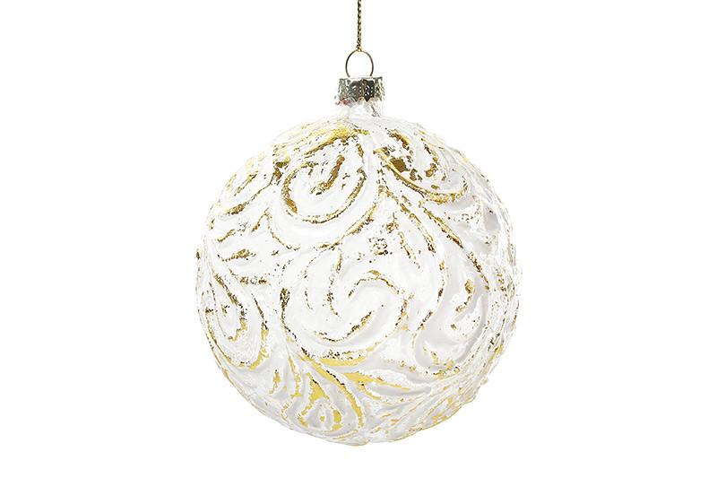 Елочный шар 10см, белый с золотом