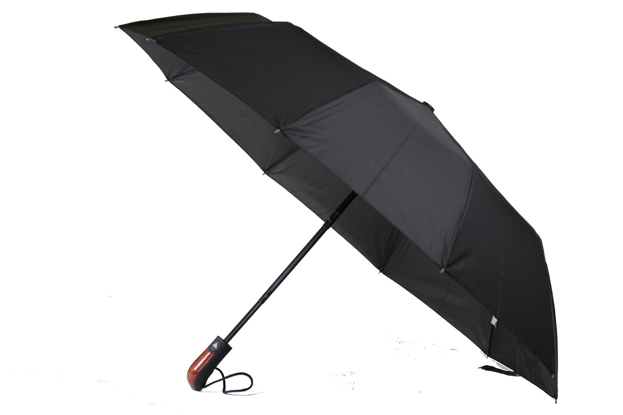 Мужской качественный складной зонт полуавтомат черного цвета на 10 карбоновых спиц антиветер от SL (22202)