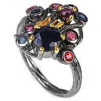 Серебряное кольцо с сапфирами разноцветными, 1494КС