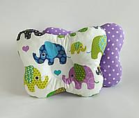 """Детская ортопедическая подушка для лечения и профилактики кривошеи у младенцев """"Слоны на сиреневом"""""""