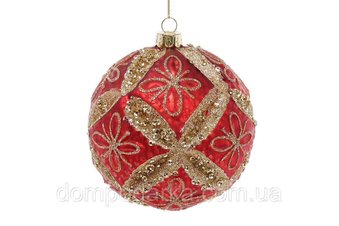Елочный шар 10см, цвет - красный антик с золотым глитером