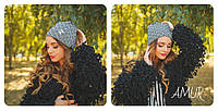 Женская шапка с бантиком трикотаж