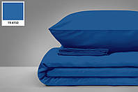 """Турецкая сатиновая простынь на резинке с двумя наволочками (160*200)  класс: Люкс сатин """"Синий"""", фото 1"""