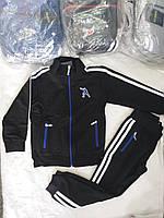 Спортивный детский костюмдля мальчика на манжетаж 6-9 лет, черного цвета