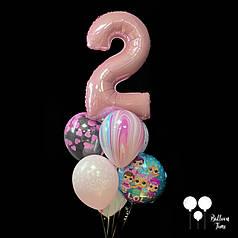 """Связочка шаров с цифрой """"2"""" для маленькой принцессы"""