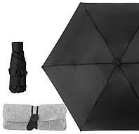 Карманный мини зонт в тканевом футляре Black (2996)