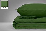 """Турецька сатинова простирадло на гумці з двома наволочками (180*200) клас: Люкс сатин """"Зелений"""", фото 1"""