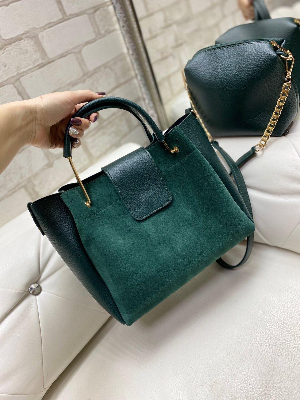 Большая зеленая замшевая женская сумка на плечо с косметичкой брендовая натуральная замша+кожзам