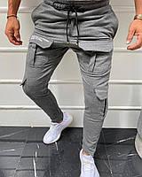 Мужские хлопковые спортивные штаны с накладными карманами светло-серые - M, L, XL, 2XL