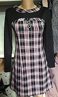 Платье комбинированное в клеточку