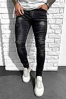 Мужские стильные джинсы (чёрные с потёртостями) 2-Y PREMIUM