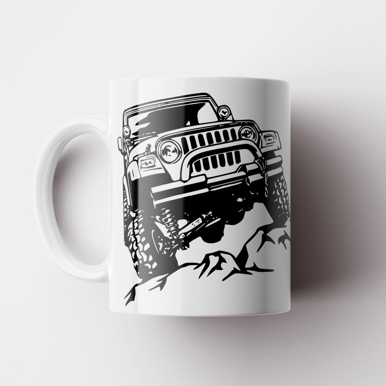Чашка с принтом Jeep. Кружка с принтом Машина Джип. Чашка с фото