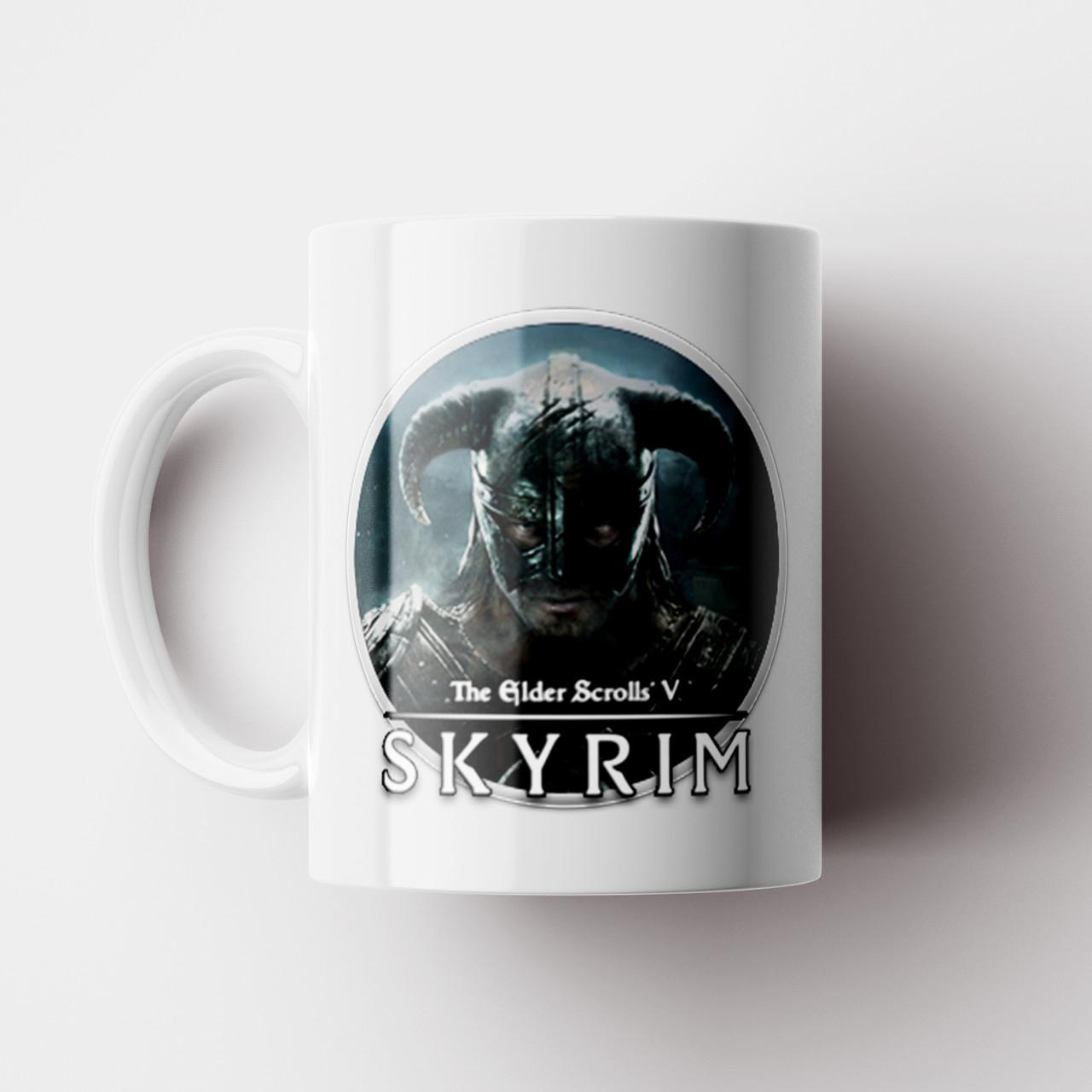 Чашка с принтом Skyrim. The Elder Scrolls V: Skyrim. Кружка с принтом Скайрим