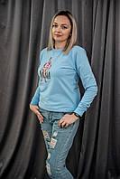 Свитшот женский голубой с принтом