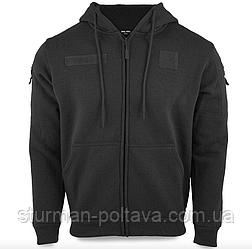 Кофта - толстовка  мужская  тактическая с капюшоном TACTICAL KAPUZENJACKE DARK Mil-Tec цвет   черный  Германия
