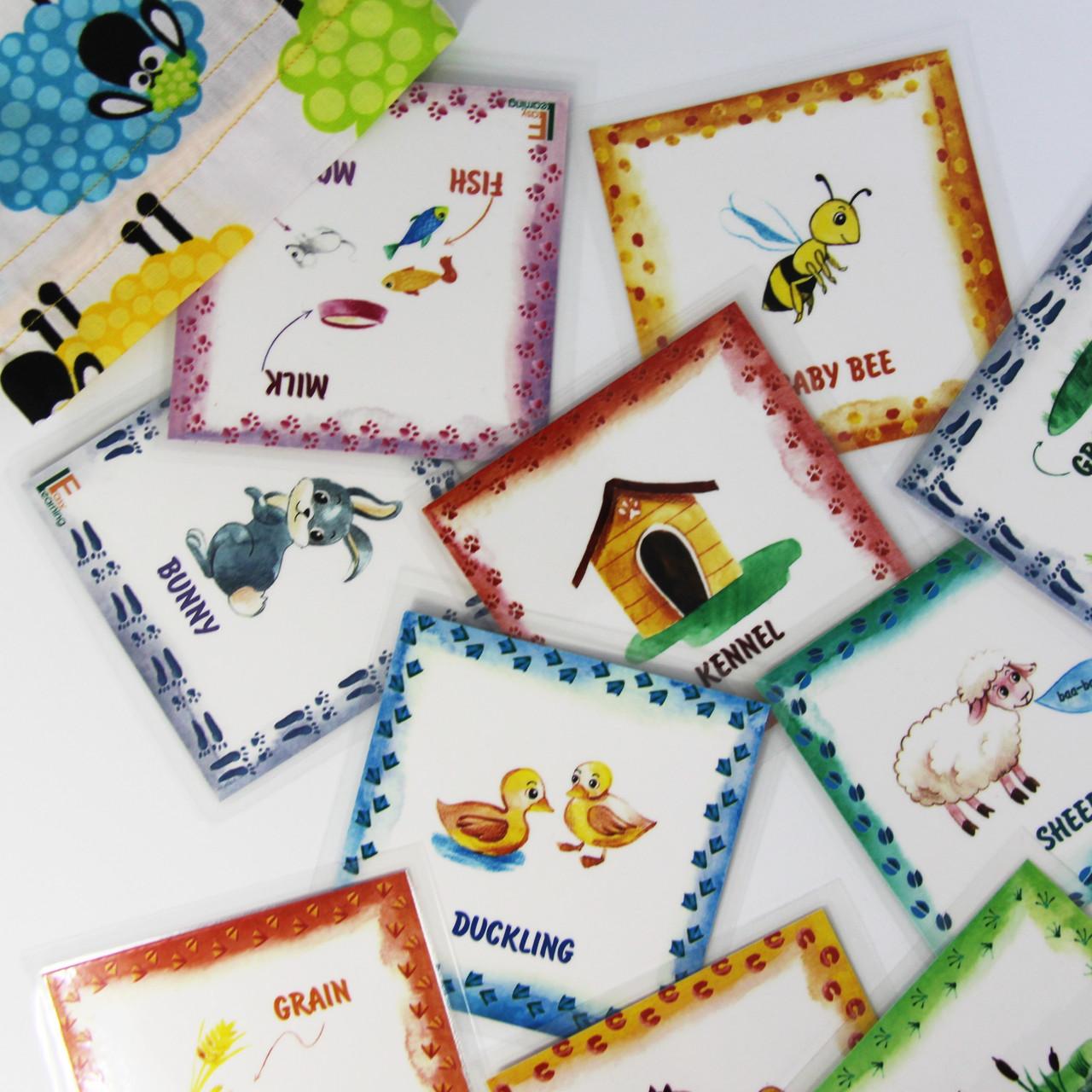 Дитячі англійські карточки з тваринками Farm animals - фото 1