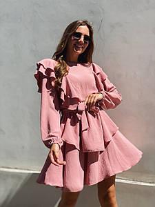 Трендовое молодежное платье с рюшами 42-48 (в расцветках)