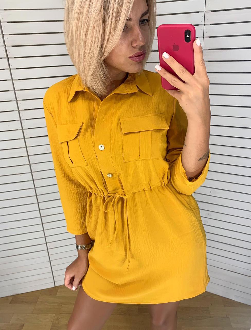 Современное платье-рубашка с поясом 42-48 (в расцветках)