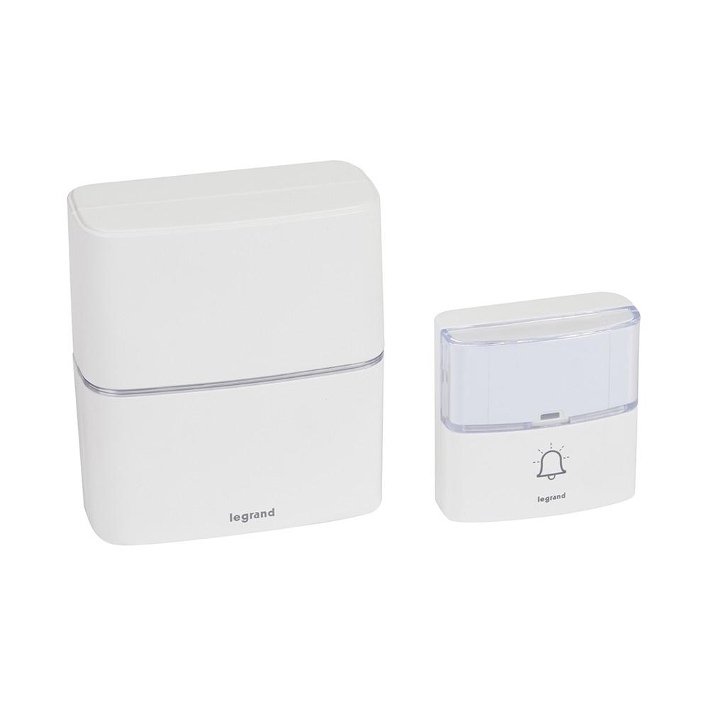 Звонок беспроводной Legrand комплект ПРЕМИУМ одинарный на батарейках белый
