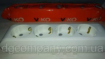 Колодка Viko multilet на 4 гнізда з заземленням