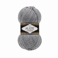 Пряжа Alize LanaGold Classic 100гр - 240м (21 Серый), 51% акрил, 49% шерсть, Турция