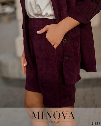 Необычный и нарядный костюм батал с шортами и пиджаком Размеры: 50-52, 54-56, 58-60, 62-64, фото 2