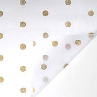 """Флизелин для цветов  """"Горохи"""", цвет 062, белый - золотые горохи 777-13 (1706) (60*60 см) 20 листов"""