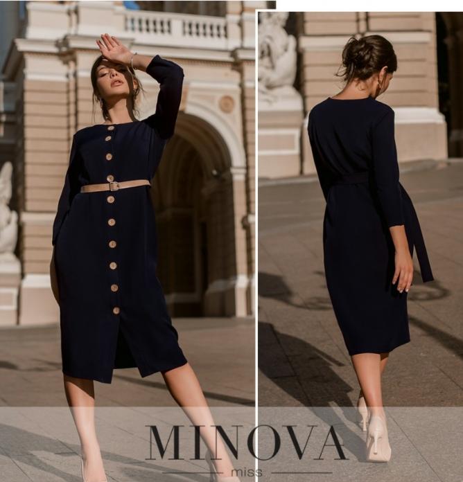 Элегантное минималистичное платье на пуговицах  цвет синий Размеры: 42.44.46.