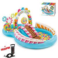 Детский надувной бассейн Intex Candy Zone с горкой