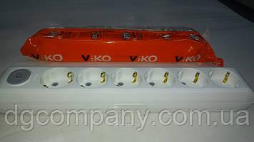 Колодка Viko multilet на 6 гнізд з заземленням з кнопкою