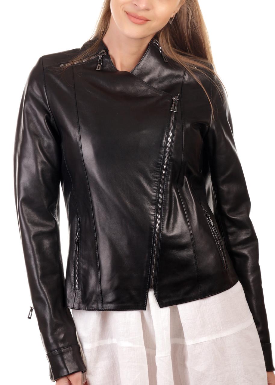 Шкіряна куртка-косуха жіноча чорна (Арт. VK284)