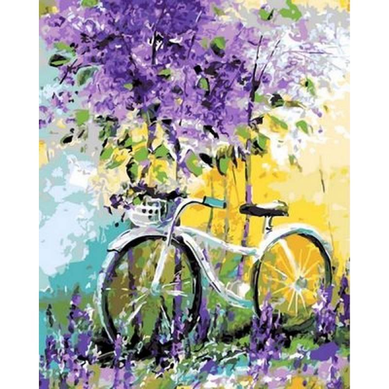 Картина по номерам NB765 Велосипед в зарослях лаванды, 40x50 см., Babylon Premium