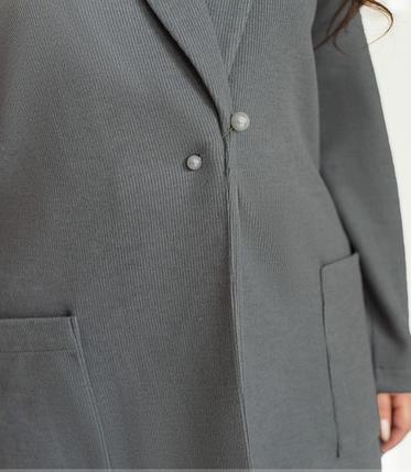 Привлекательный кардиган батал без застёжек цвет серый Размеры: 50-52, 54-56, фото 2