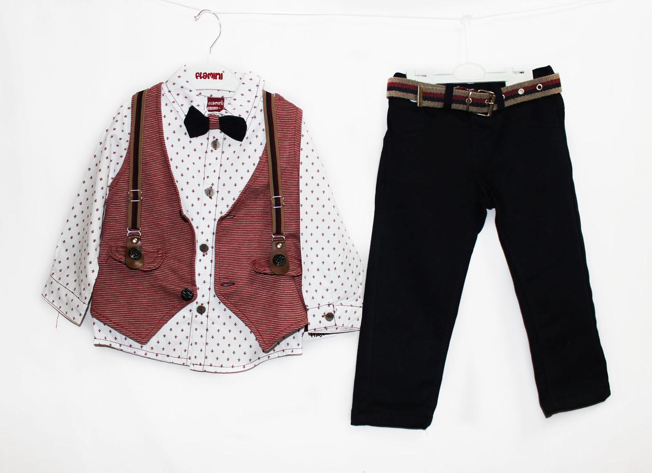 Костюм двойка для мальчика. Рубашка + джинсы. Flamini 1530