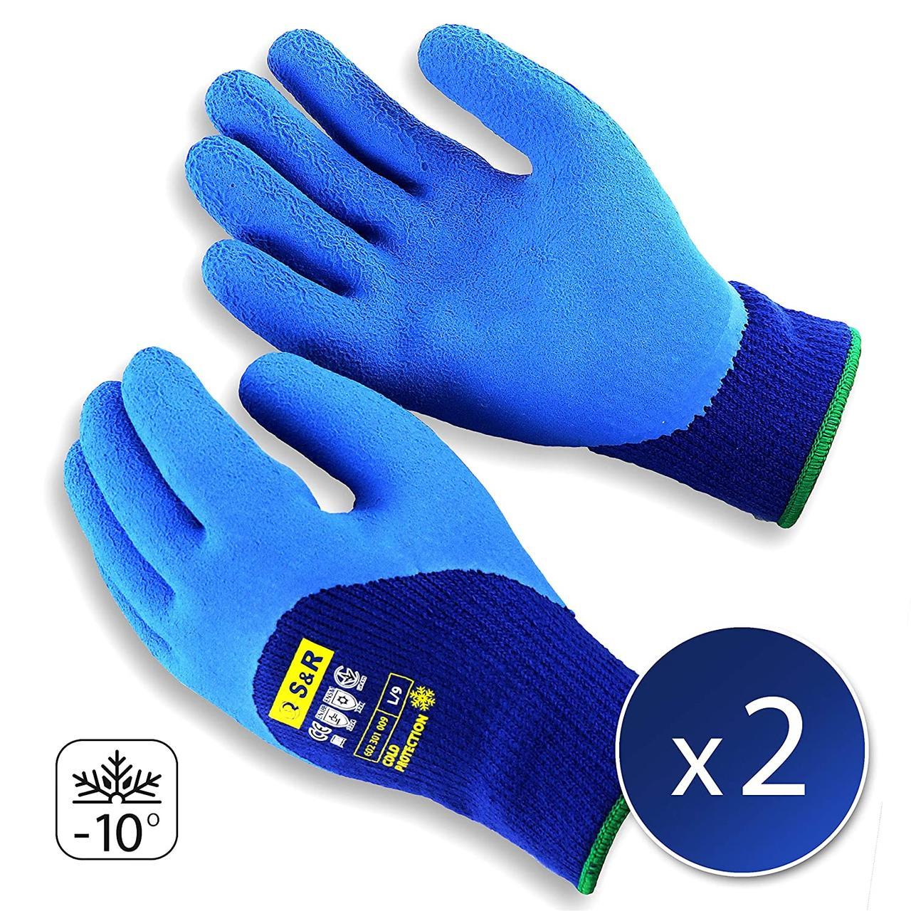 Термозащищенные рабочие защитные перчатки S&R с латексным покрытием 2 пары 10