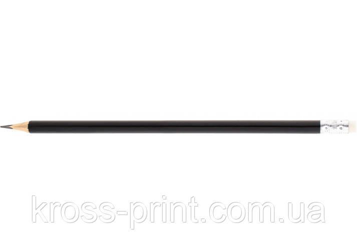 Олівець чорнографітний тригранний Economix promo корпус чорний, з гумкою