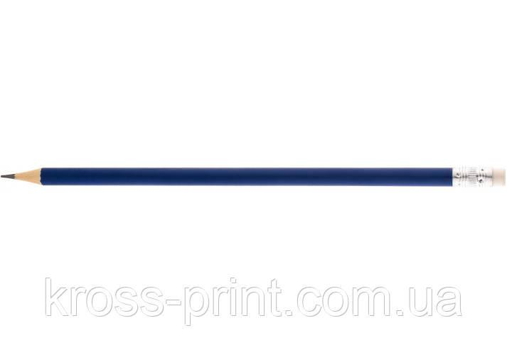Олівець чорнографітний круглий Economix promo корпус синій, з гумкою