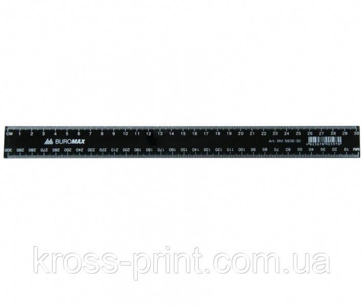 Линейка 30см пластиковая черная ВМ 5830-30 144шт/уп