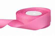 Репс однотонний на метраж. Колір-яскраво рожевий. Ширина 2.5 см бобіна - 18 м